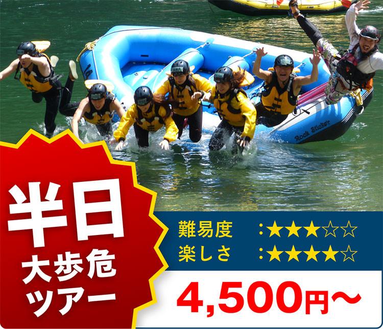 吉野川大歩危ラフティング半日体験ツアー!激流ラフティングを楽しもう 10%OFF 5,500円~